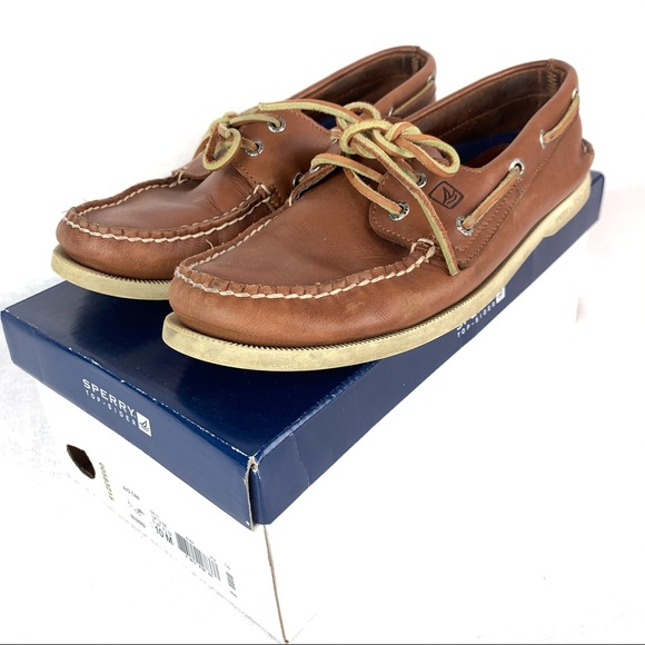 Men/'s Sperry Top-Sider Original A//O 2-Eye Boat Shoes Brown Leather All Size NIB